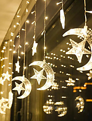 cheap -1pcs Moon Star Curtain Lamp LED Lamp String Christmas Lights Decoration Holiday Lights Curtain Lamp Wedding Neon Lantern Fairy Light