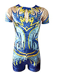 cheap -Rhythmic Gymnastics Leotards Artistic Gymnastics Leotards Men's Leotard Spandex High Elasticity Handmade Short Sleeve Competition Dance Rhythmic Gymnastics Artistic Gymnastics Blue