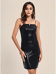 cheap -Women's Mini Black Dress Sexy Daily Club Bodycon Solid Color Strap M L Slim