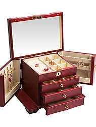 cheap -Jewelry Box - Wooden White, Red, Brown 27.8 cm 18.8 cm 19.7 cm