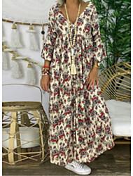 cheap -Women's Shift Dress - Print Black Maxi Beige S M L XL