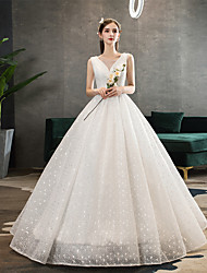 cheap -Ball Gown V Neck Floor Length Polyester / Lace / Tulle Sleeveless Romantic / Sexy Wedding Dresses with Beading 2020
