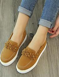 cheap -Women's Flats Flat Heel Round Toe Satin Flower Canvas Business / Vintage Spring &  Fall / Spring & Summer Black / Brown / Yellow