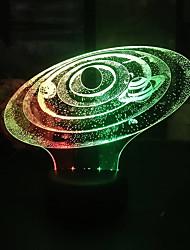 Недорогие -солнечная система led3d красочный ночной свет творческий визуальный сенсорный зарядка стерео атмосфера подарок свет