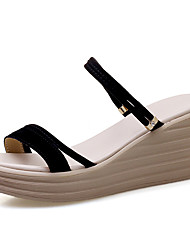 cheap -Women's Sandals Wedge Sandals Spring & Summer Wedge Heel Peep Toe Sweet Minimalism Daily Party & Evening Solid Colored Nappa Leather Black / Beige