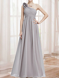 cheap -A-Line One Shoulder Ankle Length Chiffon Bridesmaid Dress with Tier