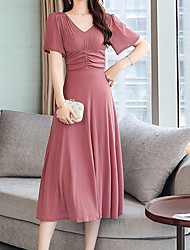 cheap -Women's Blushing Pink Black Dress Sheath Solid Color V Neck S M