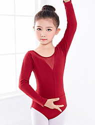 cheap -Ballet Leotard / Onesie Ruching Split Joint Girls' Training Performance Long Sleeve Natural Polyester / Cotton Blend Lycra
