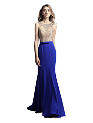 cheap -Mermaid / Trumpet Jewel Neck Sweep / Brush Train Satin Luxurious / Blue Prom / Formal Evening Dress with Beading / Sequin 2020