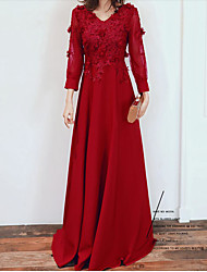 cheap -A-Line Empire Red Engagement Formal Evening Dress V Neck 3/4 Length Sleeve Floor Length Spandex with Appliques 2020