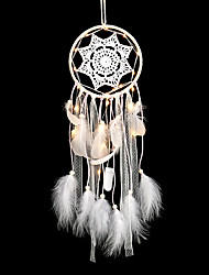 cheap -Originality Big Hot White Dreamcatcher Wind Chimes Indian Style Pearl Feather Pendant Dream Catcher Gift LED lihgts