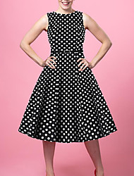 cheap -Women's Black Dress Vintage Style Street chic Going out Sheath Polka Dot Patchwork Print S M