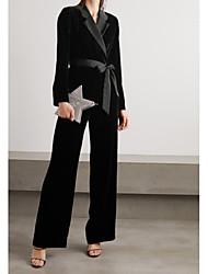 cheap -Pantsuit / Jumpsuit V Neck Floor Length Polyester Long Sleeve Elegant Mother of the Bride Dress with Sash / Ribbon 2020