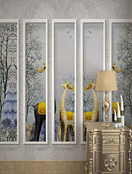 cheap -Customized Self-adhesive Mural Wallpaper Beautiful Fawn Suitable For Bedroom Living Room Coffee Shop Restaurant Hotel Wall Decoration Art Canvas Material Mural / Wall Cloth Room Wallcovering