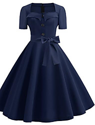 cheap -Women's Swing Dress - Solid Color Black Royal Blue Red S M L XL