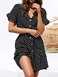 cheap -Women's A Line Dress - Polka Dot White Black Navy Blue S M L XL