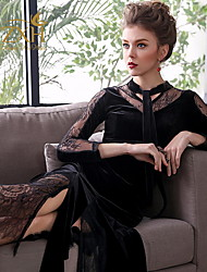 cheap -A-Line High Neck Tea Length Velvet Long Sleeve Plus Size Mother of the Bride Dress with Lace 2020