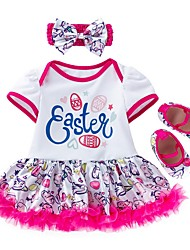 cheap -Baby Girls' Streetwear Print Short Sleeve Regular Clothing Set Fuchsia