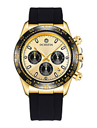 cheap -Men's Dress Watch Quartz Silicone Black 30 m Calendar / date / day Chronograph Noctilucent Analog Black+Gloden White+Gold Blushing Pink One Year Battery Life