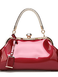 cheap -Women's Polyester / PU Top Handle Bag Leather Bags Solid Color Wine / White / Black / Fall & Winter