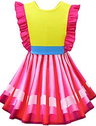 cheap -Kids Girls' Active Sweet Striped Color Block Patchwork Bow Ruffle Sleeveless Knee-length Dress Yellow