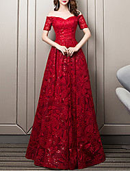 cheap -A-Line Floral Wedding Guest Formal Evening Dress Sweetheart Neckline Short Sleeve Floor Length Lace with Sequin Embroidery 2020