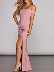 cheap -Mermaid / Trumpet Sexy Pink Engagement Prom Dress Off Shoulder Sleeveless Floor Length Spandex with Pleats Split 2020