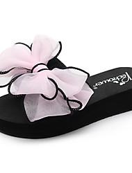 cheap -Women's Slippers & Flip-Flops Flat Heel Open Toe Bowknot Polyester Casual / Minimalism Walking Shoes Summer Black / Fuchsia / Navy Blue