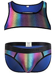 cheap -Men's Print Suits Nightwear Rainbow Rainbow S M L