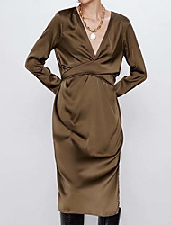 cheap -Women's Brown Dress Sheath Solid Color V Neck S M