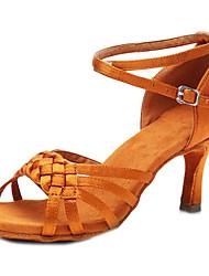cheap -Women's Latin Shoes Satin Cross Strap Heel Slim High Heel Customizable Dance Shoes Black / Brown / Camel