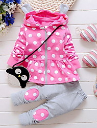 cheap -Baby Girls' Street chic Polka Dot Long Sleeve Regular Clothing Set Purple / Toddler