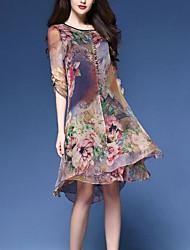 cheap -Women's Blue Dress Tunics Spring & Summer Holiday Vacation Sheath Floral M L