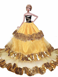 cheap -Doll accessories Doll Clothes Doll Dress Wedding Dress Party / Evening Wedding Ball Gown Sequin Tulle Lace Polyester For 11.5 Inch Doll Handmade Toy for Girl's Birthday Gifts  Doll Not Included