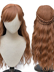 cheap -Cosplay Princess Anna Cosplay Wigs Women's Straight bangs 26 inch Heat Resistant Fiber Curly Plaited Brown Brown Anime