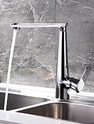 cheap -Kitchen faucet - Single Handle One Hole Chrome Standard Spout Centerset Contemporary Kitchen Taps