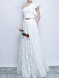 cheap -A-Line Elegant White Party Wear Prom Dress One Shoulder Sleeveless Floor Length Polyester with Appliques 2020