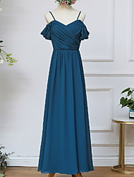 cheap -A-Line Spaghetti Strap Ankle Length Chiffon Bridesmaid Dress with Tier