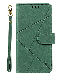cheap -Case For OPPO Oppo A8 / A31 Card Holder / Flip / Magnetic Full Body Cases Lines / Waves / Solid Colored / Geometric Pattern PU Leather / TPU