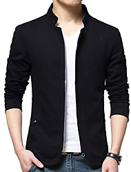 cheap -Men's Daily Regular Jacket, Solid Colored Stand Long Sleeve Polyester Black / Blue / Beige