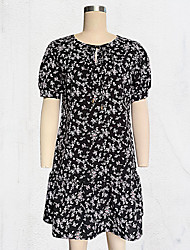 cheap -Women's White Black Dress Cute Daily Shift Floral V Neck Basic S M
