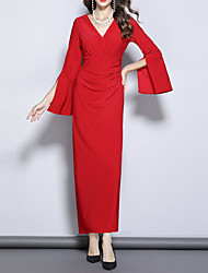 cheap -Sheath / Column V Neck Ankle Length Polyester 3/4 Length Sleeve Elegant Mother of the Bride Dress with Draping 2020