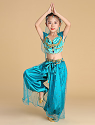 cheap -Belly Dance / Dance Costumes Bottoms / Tops Girls' Performance / Theme Party Suede / Satin / Tulle Gold Coin / Pearls Top