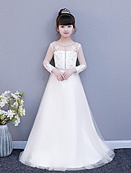 cheap -Princess Chapel Train Wedding / Party Communion Dresses - Tulle Long Sleeve Illusion Neck / Jewel Neck with Lace