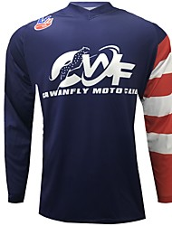 cheap -CAWANFLY Men's Long Sleeve Cycling Jersey Downhill Jersey Dirt Bike Jersey Winter Summer Polyester Black Solid Color Novelty American / USA Bike Jersey Top Mountain Bike MTB Quick Dry Breathable Back