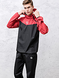 cheap -Men's 2-Piece Patchwork Tracksuit Sauna Suit Casual Long Sleeve Windproof Breathable Soft Running Fitness Jogging Sportswear Athletic Clothing Set Athleisure Wear Black Red Gray Activewear