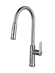 cheap -Kitchen faucet - Single Handle One Hole Chrome / Nickel Brushed Pull-out / ­Pull-down / Tall / ­High Arc Centerset Contemporary Kitchen Taps
