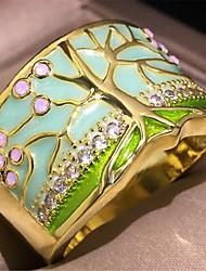 cheap -Women's Ring 1pc Gold Copper Imitation Diamond Round Stylish Gift Festival Jewelry Retro Flower