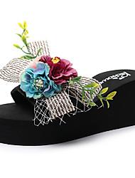 cheap -Women's Slippers & Flip-Flops Wedge Heel Open Toe Satin Flower / Ribbon Tie Polyester Sweet / Chinoiserie Walking Shoes Summer Black