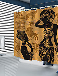 cheap -Shower Curtains New Design African Prairie Elements Digital Printed Shower Curtain